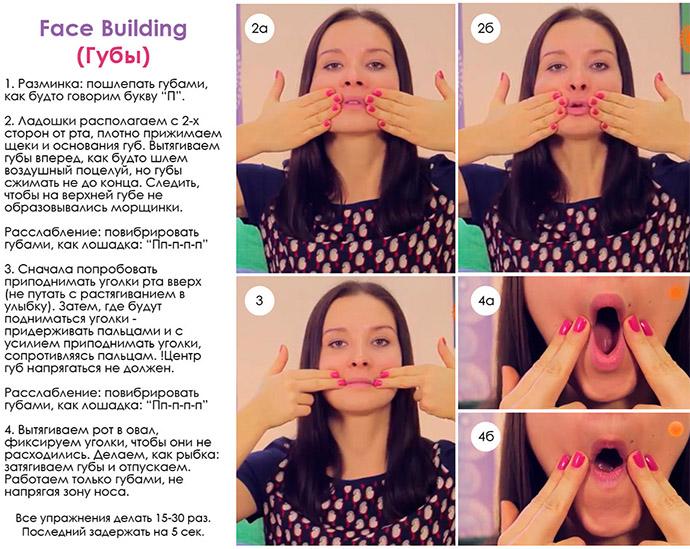Упражнения для лица от морщин и дряблости кожи, фото-инструкция
