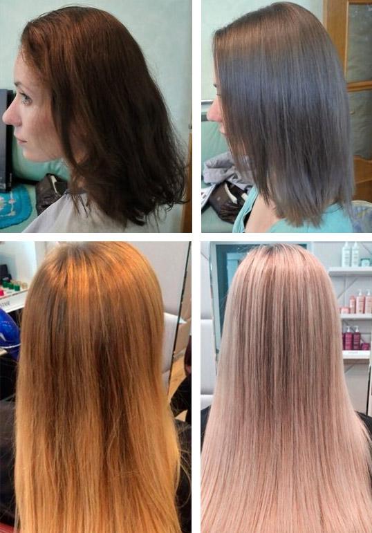 Цвет волос темный русый фото до и после