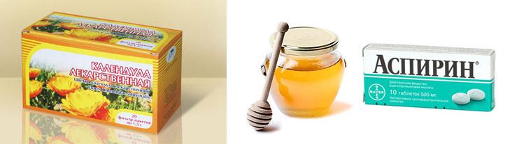 Календула, мед и аспирин