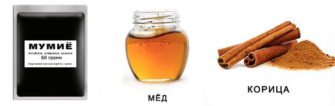 Мумие, мед и корица