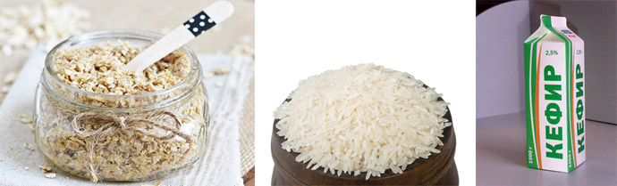 Овсянка, рис и кефир