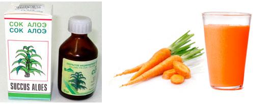 Соки алоэ и моркови для ресниц