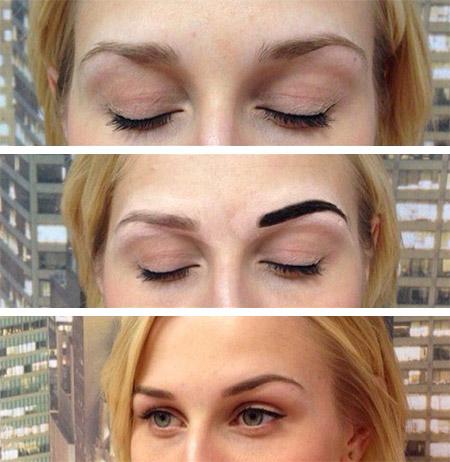 До и после покраски бровей