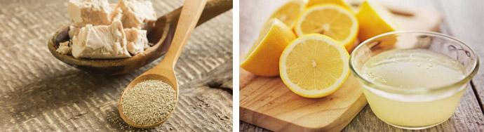 Маска с дрожжами и лимоном