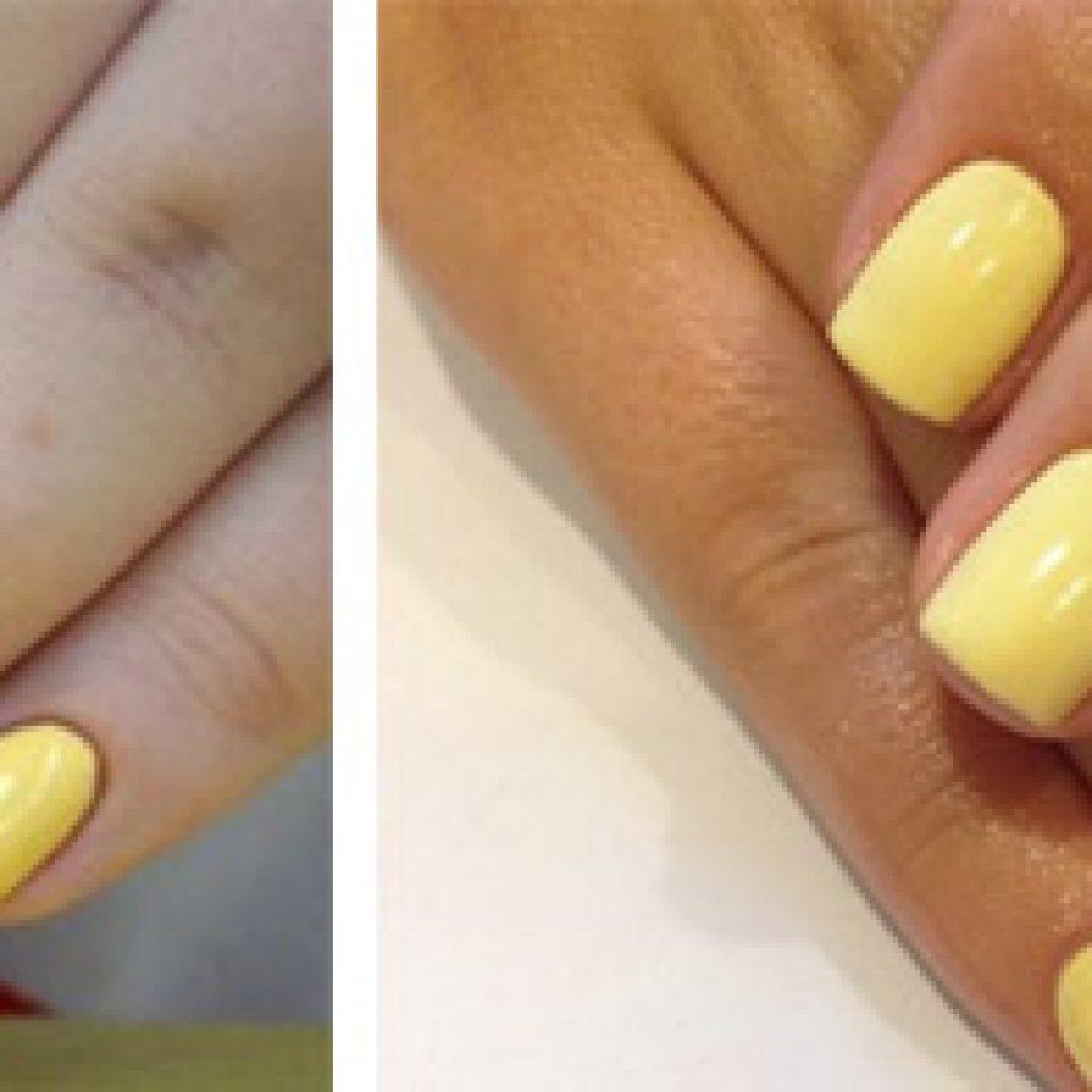 Желтый лак на ногтях