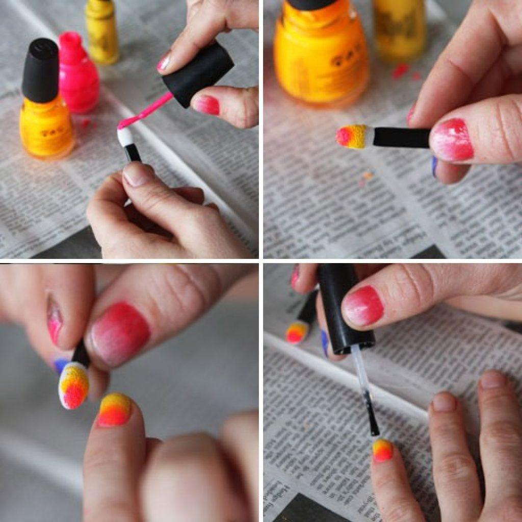 Как сделать градиентный маникюр кисточкой
