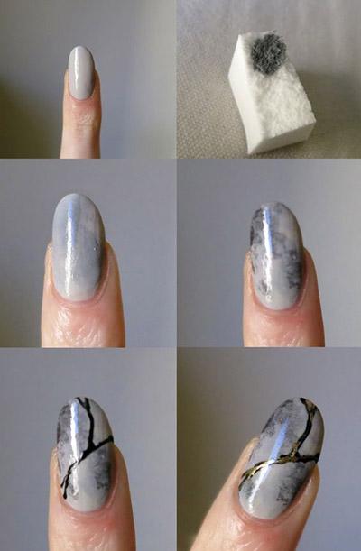 Как сделать мраморный маникюр
