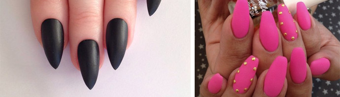 Матовый лак на миндалевидных ногтях