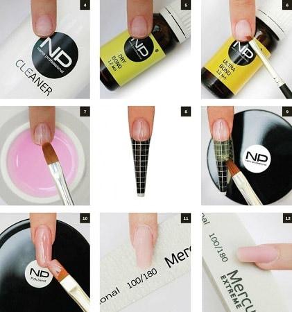 Наращивание ногтей в домашних условиях с фото пошагово