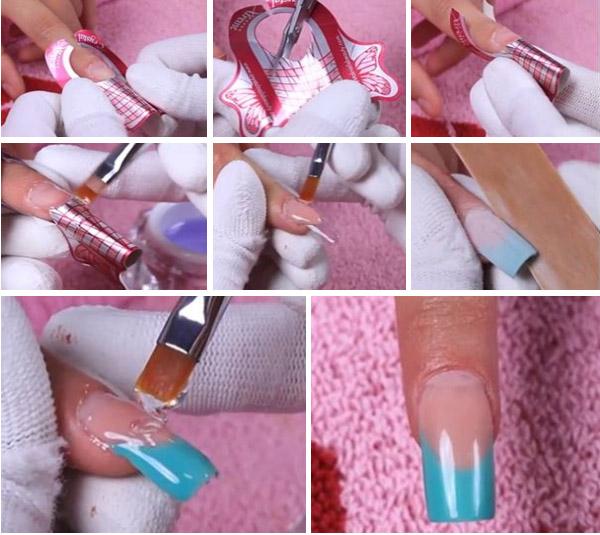Как наращивать ногти акрилом на типсы