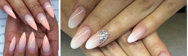 Омбре на ногтях заостренной формы
