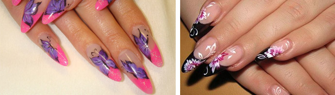 Рисунки на заостренных ногтях