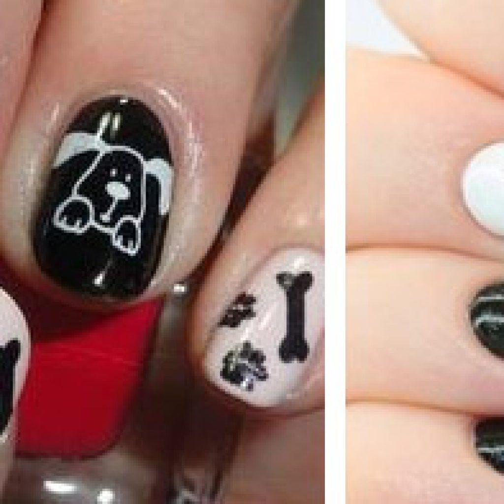 Рисунок собаки на ногтях