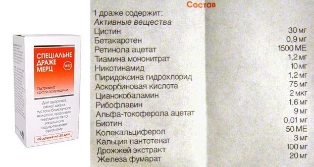 Состав драже Мерц